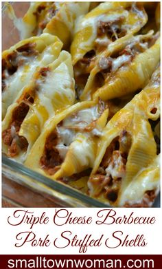 These easy delectable shells are a cinch to make.  Triple Cheese Barbecue Pork Stuffed Shells start off with pulled pork.  Don't feel like cooking a pork butt than buy some already cooked from Costco or Sams.  If pork is not your thing substitute ground beef.