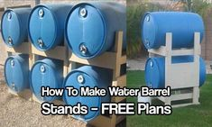 How To Make Water Barrel Stands - Don't settle for cheap water barrel stands, build your own with these great plans. These are sturdy, easy to build and look fantastic in any garden. Water Barrel Storage, Rain Water Barrel, Rain Barrel Stand, Rain Barrel System, Rain Barrels, Survival List, Survival Skills, Water Collection System, How To Make Water