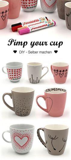 Lieblich Tassen Bemalen   Kreative Ideen Und Vorlagen Für Das Tassen Selbst  Gestalten. PorzellanmalereiGeschirrTassen BemalenPorzellan ...