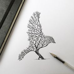 Italian artist Alfred Basha combines animals and natural elements such as trees, branches and leaves to create his beautiful drawings. More illustrations via Ideia Quente