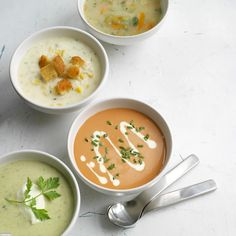 4 favourite soups - chicken broth, smoked haddock chowder, lobster bisque and broccoli with stilton and chervil Healthy Eating Recipes, Cooking Recipes, Creative Snacks, Good Food, Yummy Food, Seasonal Food, Soup And Sandwich, Soup And Salad, Soups And Stews