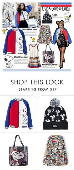 """""""Get The Look :Snoopy"""" by anitadanako ❤ liked on Polyvore featuring PEANUTS by SCHULZ, ASOS, women's clothing, women, female, woman, misses, juniors and BlackFive"""