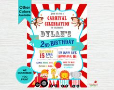 Circus Birthday Invitation 1st Birthday by TheTrendyButterfly