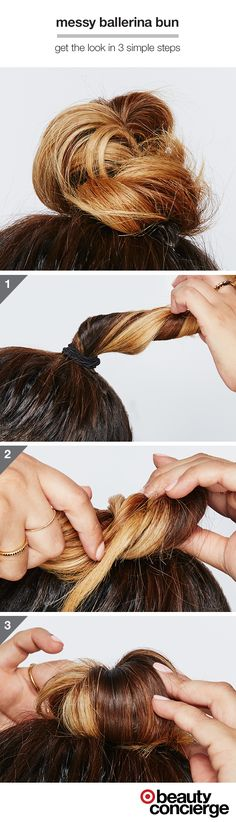 HOW TO: Get a Messy Ballerina Bun. Target Beauty Concierge, Yadirah from Los Angeles, shares how she's wearing one of this season's biggest trends. 1. Gather hair into a high ponytail and tie with an elastic band. 2. Twirl pony and wrap around the base, securing with 2–3 bobby pins. 3. Make it messy by loosening a few pieces. Shop the tools to get the look.