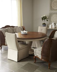 """Brannon"" Dining Table, ""Erica"" Dining Chair, and ""Madelyn"" Banquette - Horchow"