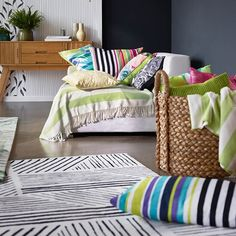 From Shaggy Textures to bold, contemporary designs Esprit has developed their rugs to suit all tastes. #StripedRugs #Bedrooms