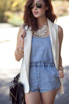 chriselle lim outfit topshop denim jumpsuit / romper  From azita66.tumblr.com