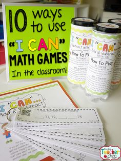 I Can Grammar & Math Games are more than just a can! Learn how I put together, organize and use these math and grammar games for all grades!  Literacy and Math centers are now fun and engaging with these math games. Tons of ways to use these! (#3 is a lifesaver!)