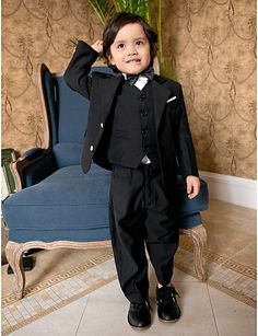 Boys Wedding Suits Black Ring Bearer Tuxedo Suits for Wedding (1351213) - CAD $ 103.19