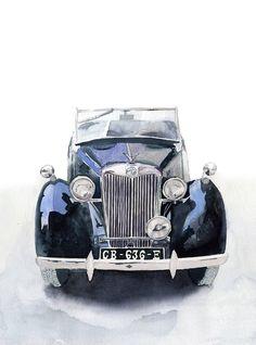 Black retro car - Original watercolor painting - antique car - Monochrome painting - wall art - house wall art