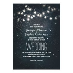 Shop string lights and night sky stars engagement party invitation created by jinaiji. Personalize it with photos & text or purchase as is! Rehearsal Dinner Invitations, Engagement Party Invitations, Elegant Wedding Invitations, Event Invitations, Wedding Invitation Cards, Wedding Favors, Wedding Gifts, Night Sky Stars, Night Skies