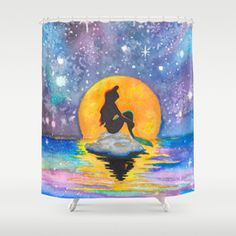 The Little Mermaid Galaxy Shower Curtain