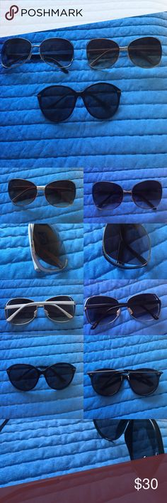 Sunglass Bundle  Bundle of 3 sunglasses • 2 pair of oversized Union Bay sunnies (one silver & black and one gold & white) • 1 pair Dot Dash (original $30) round/cateye look • All in great condition Unionbay Accessories Sunglasses