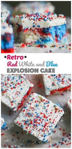 Retro Red White and Blue Explosion Cake - The vibrant colors literally explode with the red, white and blue tie dye effect, marbled in a light and fluffy vanilla white cake. white and blue of july Köstliche Desserts, Summer Desserts, Holiday Desserts, Holiday Baking, Holiday Treats, Delicious Desserts, Dessert Recipes, Baking Recipes, Patriotic Desserts