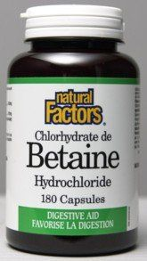 Betaine Hcl 500mg (180Capsules) Brand: Natural Factors by Natural Factors. $12.49. Uses: Digestion, Gas, Bloating, Constipation, Nutrient absorption, Food allergies etc... Therapeutic Use: Digestion, Gas, Bloating, Constipation, Nutrient absorption, Food allergies ...