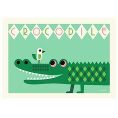 Ingela krokodil poster: versier je (kinder)kamer met deze stoere krokodil poster ontworpen door de Zweedse ontwerpster Ingela P Arrhenius.