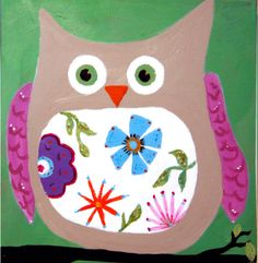 Owl Painting with flowers Green and Brown and Pink by WendyBarritt