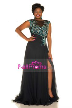 0ccf582bdb3 Buy Cheap 2016 prom dresses scoop a line 30d chiffon with beads and slit plus  size xbfc4d6 - BallProms.com for mobile