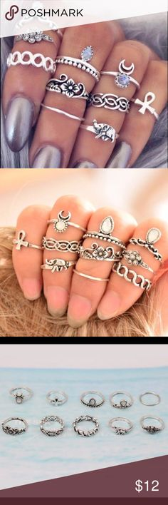 LAST SET Silver Boho Midi Rings (Set of 10) This gorgeous set of rings in silver deliver a vintage boho gypsy look. Includes all 10 rings pictured. Rings have an antique look to them.  As these are midi stackable rings, they vary in size from a size 4-7 so they can be stacked in all sections of your fingers.  Made of zinc alloy and rhinestone Jewelry Rings