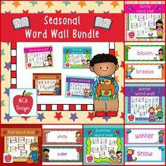 My Seasonal Word Wall Bundle features 143 word wall cards which can be used as part of a seasonal writing center or to create a fun seasonal bulletin board! Each word wall card is accented with bright colors and various seasonal graphics.   The following products are included in this bundle: Winter Word Wall Spring Word Wall Summer Word Wall Fall Word Wall