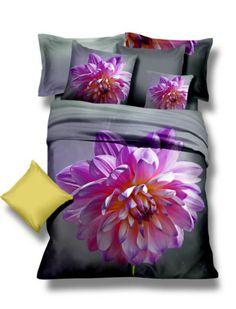 Fioletowy kwiat pościel z mikrowłókna w kolorze szarym