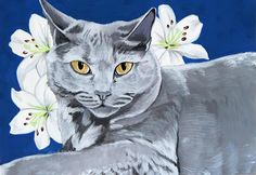 Phoebe the beautiful grey cat finished! #painting #catsoftwitter #illustration