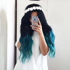 20 Balayage und Ombre Mermaid Hair Ideas To Rock - Frisuren - ombre haare Pretty Hair Color, Beautiful Hair Color, Beautiful Dream, Hair Dye Colors, Ombre Hair Color, Blue Ombre, Hair Colour, Teal Hair, Coloured Hair