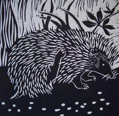 Tig / hedgehog - linocut - Mavina Baker, U.K.