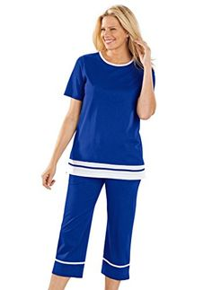 New Trending Pants: Contrast Trim Capri Set. Special Offer: $19.99 amazon.com Stripes of white highlights this charming casual set. The loose-fitting top has side slits. The pull-on pants have a full-elastic waist and side seam pockets. 100% cotton knit. Machine wash & dry. Imported. Petite – Top-26″, Inseam-20″;...