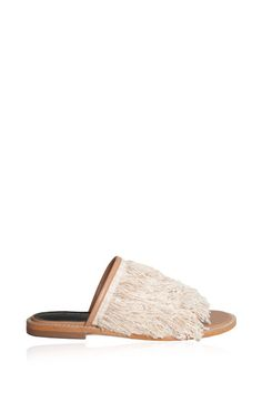 Jack Slippers In Natural Nappa Leather With Fringe by Tibi for Preorder on Moda Operandi
