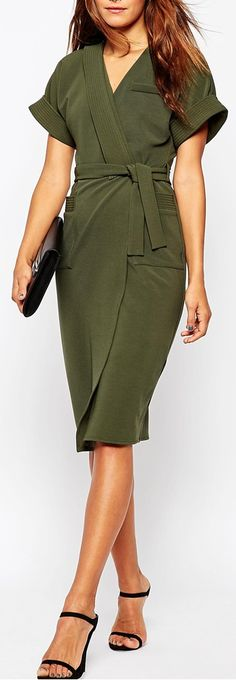 olive kimono wrap dress Love the colour but honestly it looks like a bath robe!