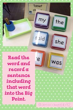 Read the word and then record a sentence including this word into tue big point (TTS). Can you write your sentence down? Sight Word Activities, Phonics Activities, Writing Challenge, Challenge Ideas, Eyfs Curriculum, Writing Area, Phonics Reading, High Frequency Words, Literacy Stations