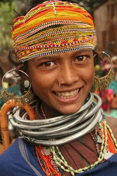 """Woman from the Indian state of Orissa .She belongs to the Bonda tribe -- an indigengenous Indian or """"Adavasi"""" (thanks Sonchi R.)"""