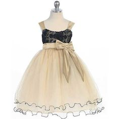 Chic Baby Little Girls Gold Black Bow Tulle flower girl  Dress Size 2-12