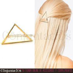 El #pasador de #pelo #Triángulo en #dorado es un precioso adorno para tu pelo ★ Precio: 4'95 € en http://www.conjuntados.com/es/para-tu-pelo/pasadores-y-horquillas/pasador-de-pelo-triangulo.html ★ #novedades #paratupelo #Triangle #hair #accesorios #complementos #estilo #style #moda #fashion #bisuteria #jewelry #GustosParaTodas #ParaTodosLosGustos
