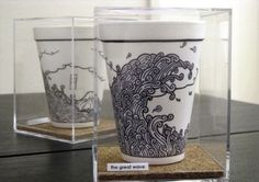 Most people use paintbrushes to compose their art on canvases or paper. Cheeming Boey on the other hand, uses a Sharpie and depicts his art on Styrofoam cups. Coffee Cup Drawing, Coffee Cup Art, Coffee Cup Design, Coffee Shop, Starbucks Cup Art, Sharpie Art, Sharpies, Elements And Principles, Foam Cups
