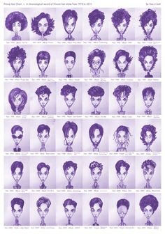 Amazing illustrations of Prince's hairstyles through the years.