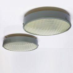 Gino Sarfatti; Enameled Aluminum and Molded Prismatic Glass Ceiling Lights for Arteluce, 1960.