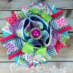 Easter, Easter eggs, spring, bling, bow, hair bow, over the top, stacked boutique bow, girl's accessories