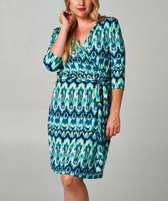 Another great find on #zulily! Black & Blue Ikat Surplice Dress - Plus by Christine V #zulilyfinds