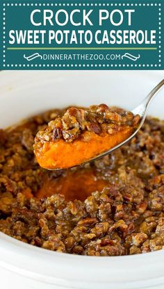 This crock pot sweet potato casserole is yams mashed with sweetener, vanilla and spices, then finished off with a brown sugar pecan topping. Brunch Recipes, Fall Recipes, Holiday Recipes, Great Recipes, Dessert Recipes, Sweet Potato Souffle, Crockpot Sweet Potatoes Casserole, Casserole Recipes, Delicious Crockpot Recipes