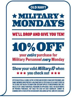 Military Mondays at Old Navy - 10% Military Discount