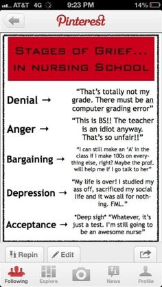The bargaining stages of nursing school. I swear I have said every one of these in this order over the past 24 hours!