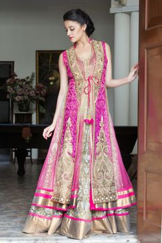 Looking for Layered jacket lehenga? Browse of latest bridal photos, lehenga & jewelry designs, decor ideas, etc. on WedMeGood Gallery. Indian Anarkali, Anarkali Dress, Anarkali Suits, Pakistani, Indian Dresses, Indian Outfits, Jacket Lehenga, Function Dresses, Sangeet Outfit