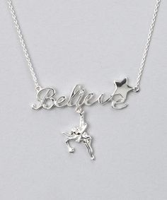 Sterling Silver 'Believe' Tinker Bell Necklace