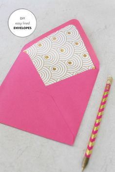 DIY Lined Envelopes |   Read more - http://www.stylemepretty.com/living/2013/07/09/diy-lined-envelopes/
