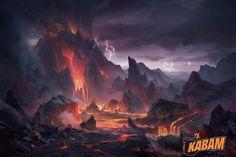 Volcano by Yin Wang on ArtStation. Environment Painting, Environment Concept Art, Environment Design, Fantasy City, Fantasy Places, High Fantasy, Fantasy Art Landscapes, Fantasy Landscape, Game Art