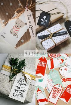 Last minute christmas gift wrapping // Free Printable Gift Tags