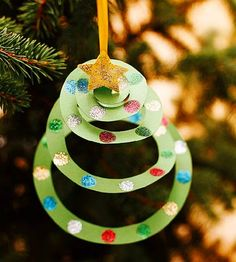 Spiral Tree Ornament-  Easy for kids to do!    -Repinned by Totetude.com