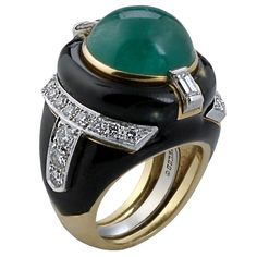 David Webb Important Emerald Ring | From a unique collection of vintage cocktail rings at http://www.1stdibs.com/jewelry/rings/cocktail-rings/